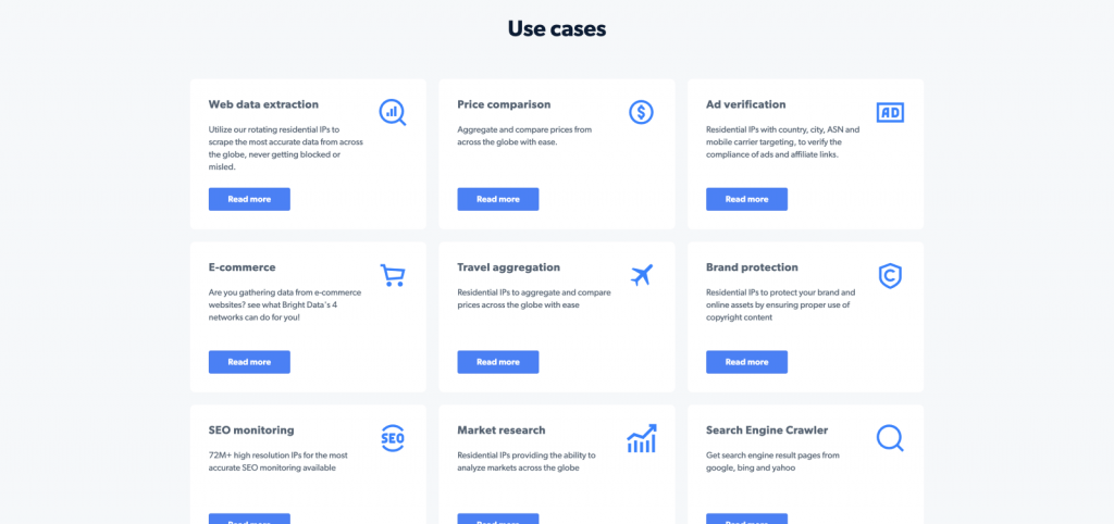 Bright Data use cases of their proxy services and products for data collection and web scraping.