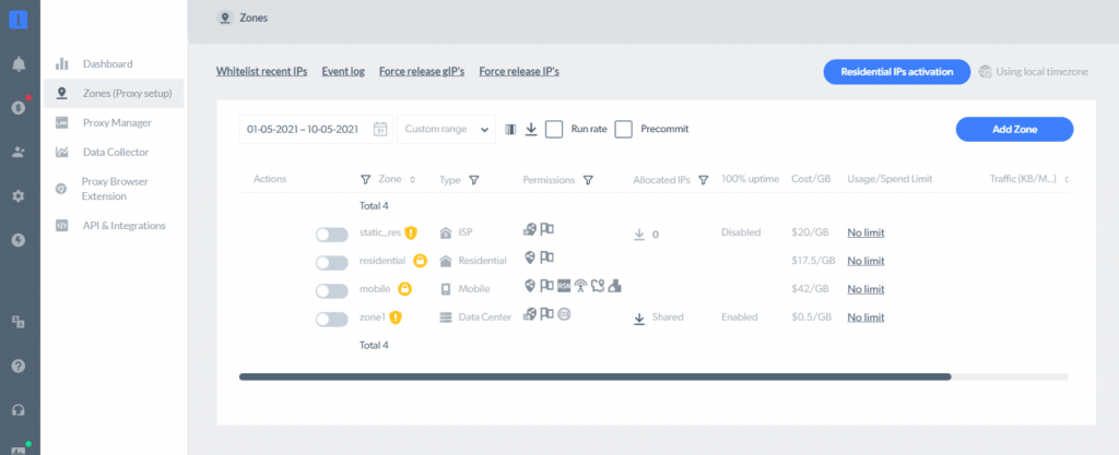 setting up the zone in the bright data dashboard